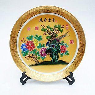 雕金粉彩  掛盤 花開富貴 擺件