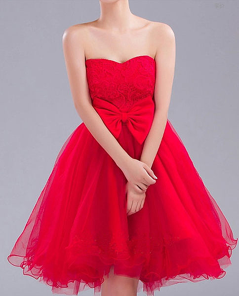 ♥ 俏魔女美人館 ♥ 出租禮服 女新娘結婚敬酒服甜美公主抹胸綁帶蓬蓬裙短款紅色伴娘小禮服
