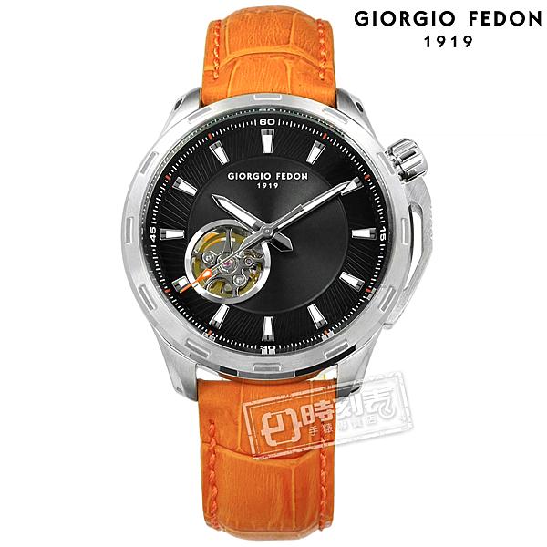 GIORGIO FEDON 1919 / GFCG001 / 自動兼手動上鍊 藍寶石塗層玻璃 精工機芯 機械錶 真皮手錶 黑x橘 42mm