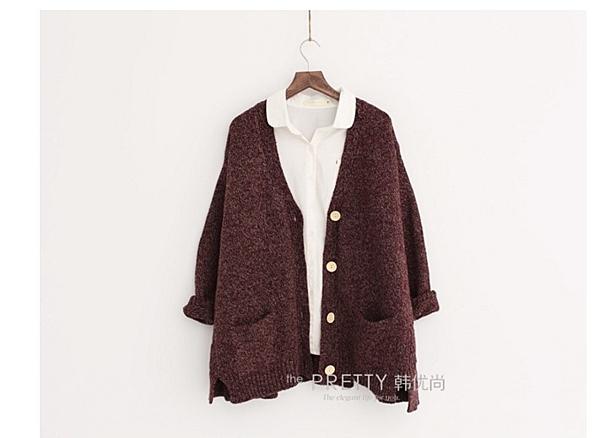 復古加厚寬鬆毛衣外套