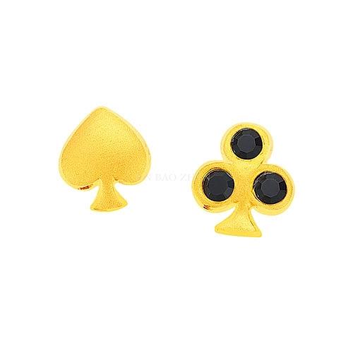 幸運草金飾-桃花運-黃金耳環