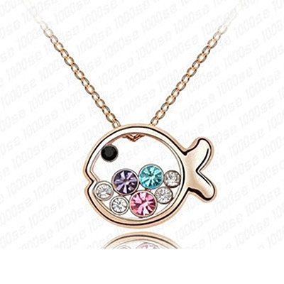 925純銀項鍊 鑲鑽墜飾-小魚造型生日母親節禮物女飾品5色73aj12【巴黎精品】
