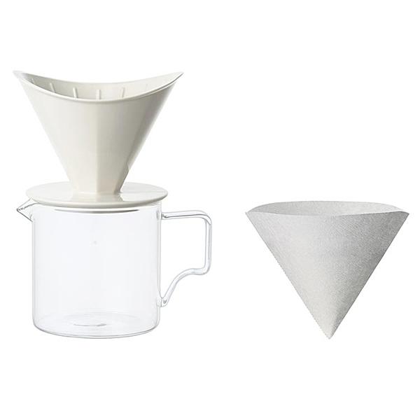 白色 KINTO 手沖咖啡壼 400ml 兩人份 日本帶回 磁器與濾紙日本製