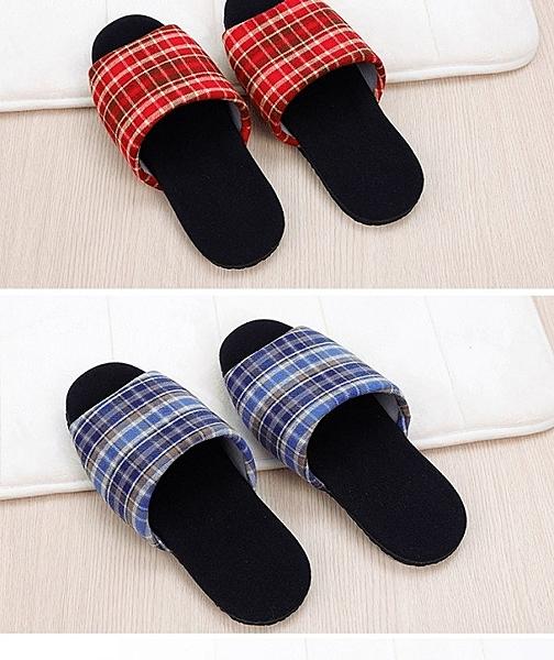 (e鞋院)經典格紋天鵝絨室內拖鞋