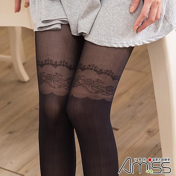 Amiss【限量促銷】透膚感造型絲假膝上-皇后玫瑰-SW134