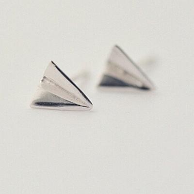 925純銀耳環(耳針式)-生日母親節禮物童趣紙飛機流行女飾品73ag83【巴黎精品】