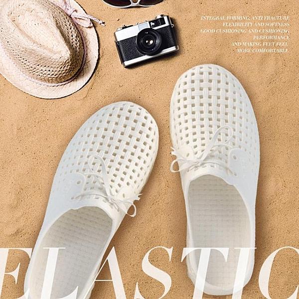 洞洞鞋男夏包頭半拖鞋女休閒防滑沙灘鞋EVA軟底白鞋涼鞋戶外秋
