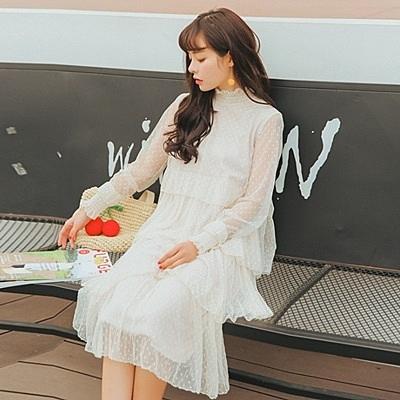連身裙-長袖性感透視立領蛋糕蕾絲女連衣裙73rx11[巴黎精品]