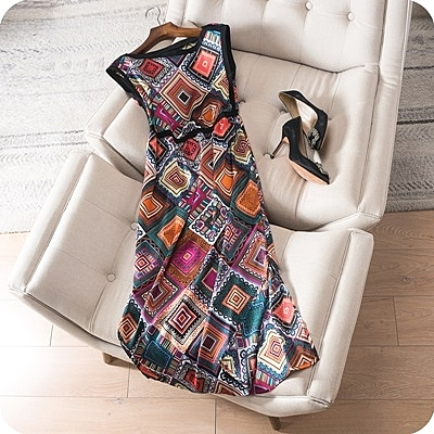 洋裝-無袖鮮明幾何印花針織拼接連身裙73sz34[時尚巴黎]