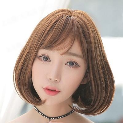 短假髮(整頂)-中分內彎梨花頭短直髮女假髮4色73rr38[巴黎精品]