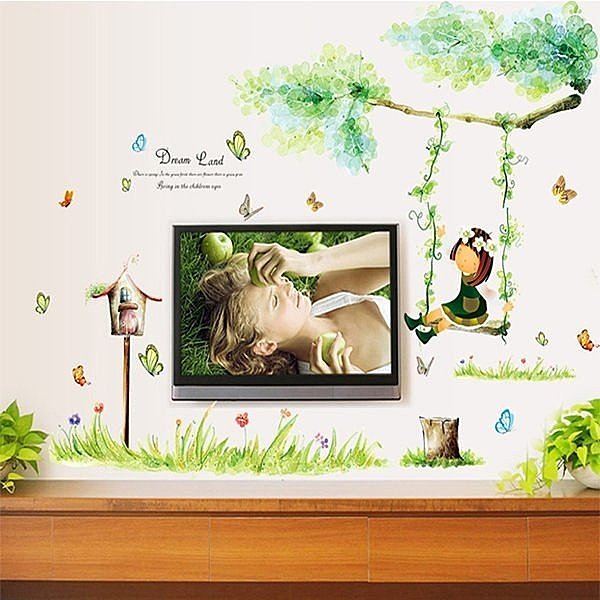 Loxin【YV4497】可移動創意牆貼 壁貼 背景貼 組合壁貼 居家裝潢裝飾 盪鞦韆的小女孩