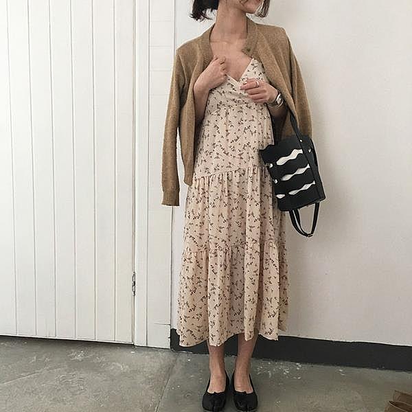 [超豐國際]春夏女裝吊帶V領中長款碎花雪紡連衣裙女寬松顯瘦打1入