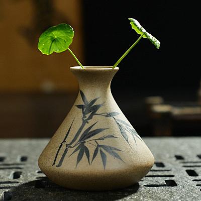 日式陶瓷手工創意小花瓶  粗陶水培花器唐裝擺件