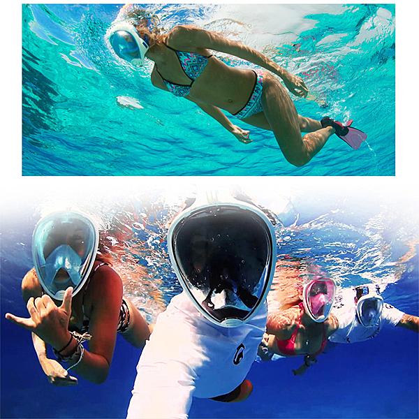 浮潛呼吸面罩 口鼻呼吸 游泳 潛水蛙鏡 浮淺 防水袋  浮潛 【庫奇小舖】