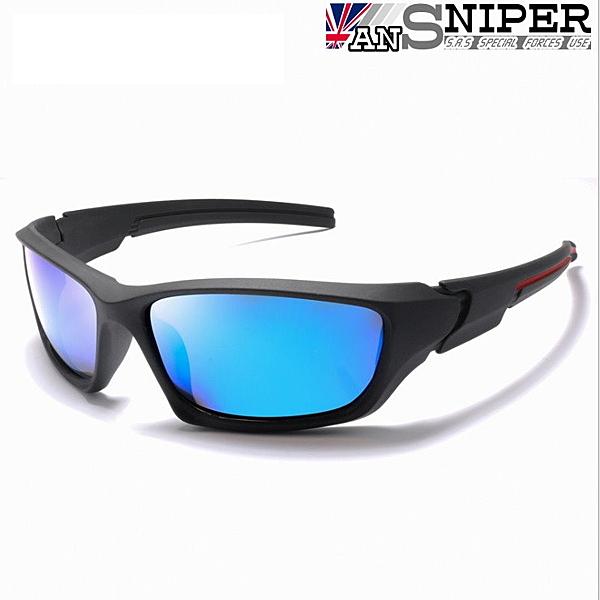 [英國ANSNIPER]SP-KP011(黑框藍片 )UV400保麗萊偏光REVO鏡片戶外專業騎行男士抗UV偏光太陽眼鏡