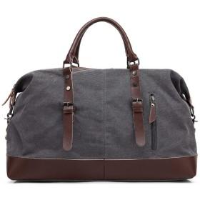 QTMIAO-Bags 旅行バッグ、カジュアルなキャンバスのショルダーバッグデュアルユースパッケージメッセンジャーバッグ (Color : Grey)