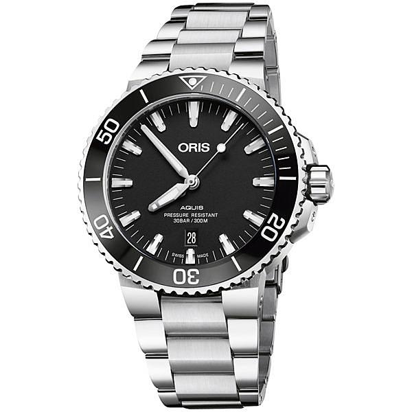 Oris豪利時 Aquis 時間之海潛水300米日期機械錶-黑/43.5mm 0173377304154-0782405PEB