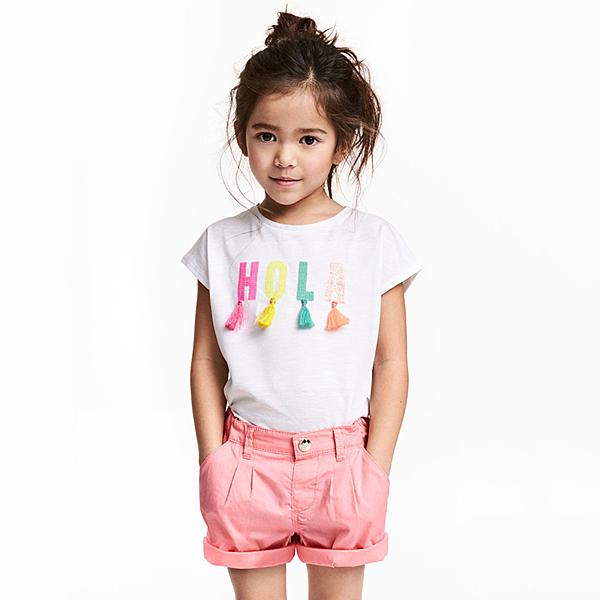 女Baby女童短袖T恤白色繽紛亮片純棉T恤春夏上衣現貨  出口歐美品質