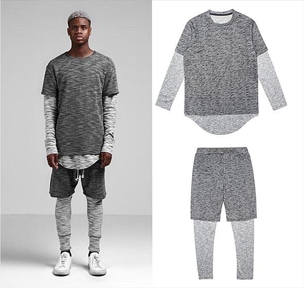 找到自己品牌 男 時尚 街頭 潮 雪花撞色 假兩件 休閒運動套裝 上衣+褲子