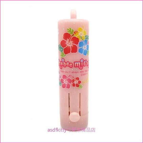 asdfkitty可愛家☆日本san-x粉紅色扶桑花直立式印章盒-有印泥-有吊飾孔-日本製
