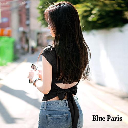 【藍色巴黎】性感修身露腰後綁蝴蝶結短袖上衣 T恤《4色》【28396】