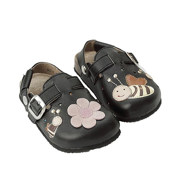 【Jingle】小蜜蜂樂園前包後空軟木休閒鞋(經典黑大人款)