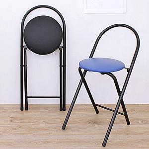 【頂堅】鋼管(PU泡棉椅座)折疊椅/餐椅/休閒椅/露營椅(二色可選)藍色