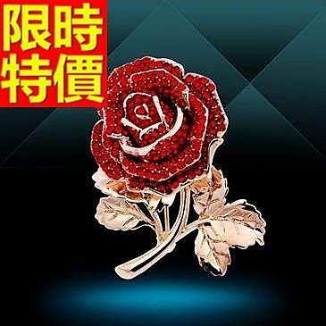 胸針 女配件-粗曠精美嬌豔紅玫瑰時尚水晶胸花65q38【巴黎精品】