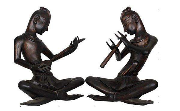 泰式木雕 擺件 工藝品 樂俑 吹鼓/個