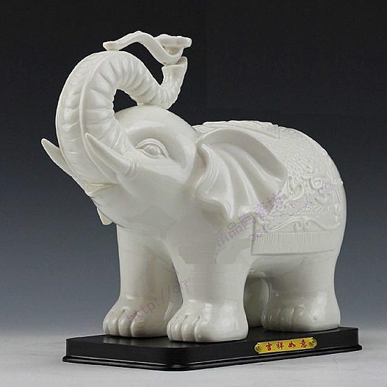 陶瓷大象擺件如意象吉祥工藝品