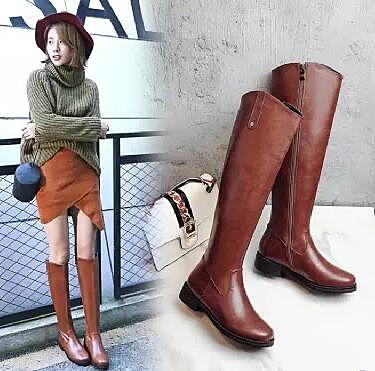 春秋女士長筒靴平跟側拉鏈長靴加絨平底高筒靴棕色皮面女靴子大碼