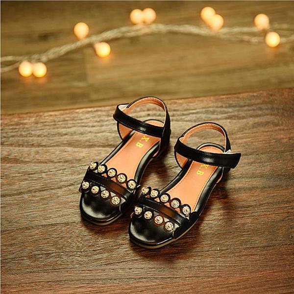 【Jingle】時尚晚宴公主防滑手工涼鞋(奢華黑兒童款)