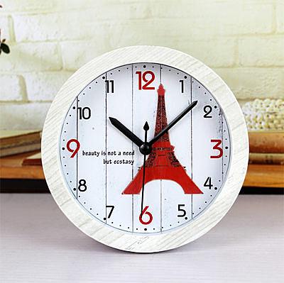 巴黎鐵塔木頭色小鬧鐘(白框)