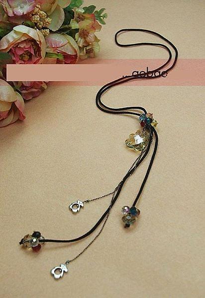 飾品 女式長款項鏈 水晶小熊 皮繩