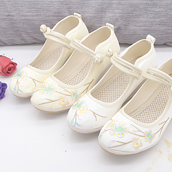 布鞋 繡花鞋 女鞋 盤扣系帶中國風坡跟老北京布鞋漢服搭配民族風女鞋復古繡花鞋高跟