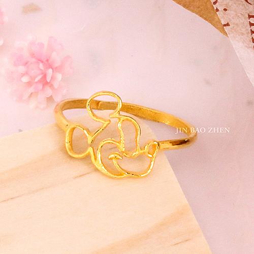 迪士尼系列金飾-黃金戒指-親親米奇
