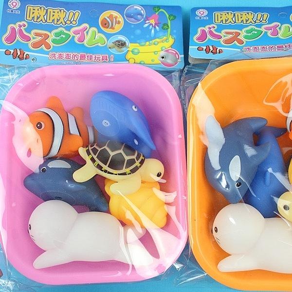 6入啾啾軟膠洗澡玩具+盆網 D683(小丑魚海底系列)/一袋入{促180} 戲水玩具 ST安全玩具-生ST-400