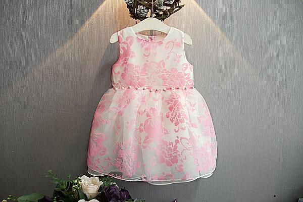 衣童趣♥韓版氣質款印花甜美洋裝 無袖紡紗蓬蓬公主裙 正式場合 花童必備【現貨】