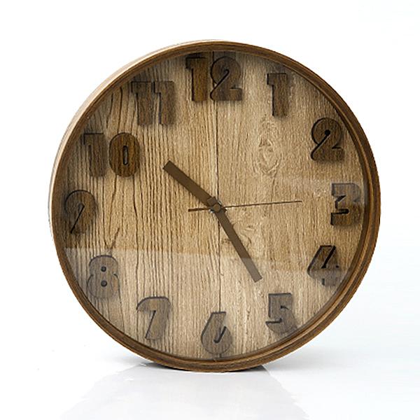 時鐘 優良原木立體數字掛鐘 柒彩年代【NG41】創意家飾