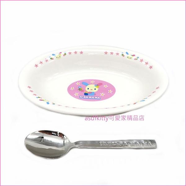 asdfkitty可愛家☆小花兔U-SA-HA-NA陶瓷焗烤盤/長橢圓深盤+不鏽鋼湯匙-日本正版商品
