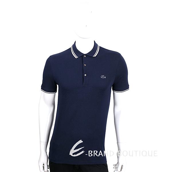LACOSTE Slim Fit 深藍色撞色領口短袖POLO衫(男款) 1630056-34