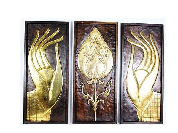 泰式風情 木雕 掛件 浮雕 佛手三件套