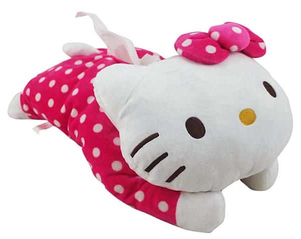 【卡漫城】 Hello Kitty 面紙套 ㊣版 絨毛 造型 面紙盒 桌上型 玩偶 抱枕 裝飾 凱蒂貓 粉紅 點點