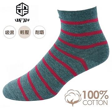 [UF72] elf日風精舒棉絲柔斑馬紋休閒女襪UF6058-深灰紅20-24