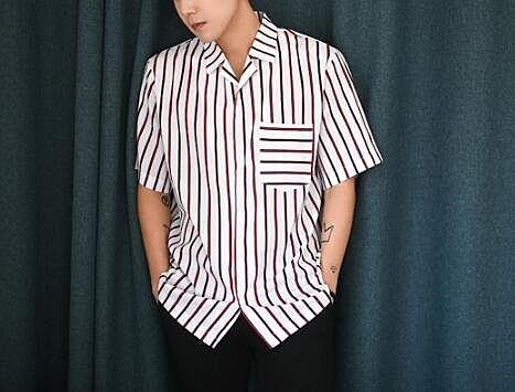 找到自己 MD 日系 時尚 潮 男 條紋短袖襯衫上衣 短袖POLO衫 短袖T恤 特色短T