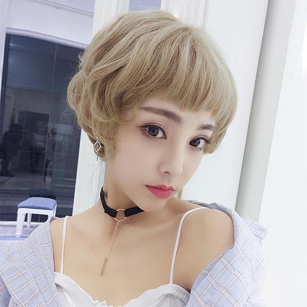 假髮女短假髮BOBO頭蓬鬆自然微捲短捲髮圓臉齊瀏海韓系可愛鎖骨髮套