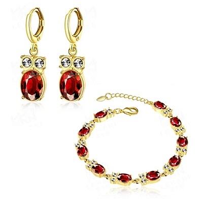 玫瑰金銀飾套裝含手鍊+耳環-紅水晶鑲鑽生日情人節禮物女飾品73bv8[時尚巴黎]