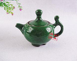 冰裂茶具,冰裂釉茶壺 孔雀綠