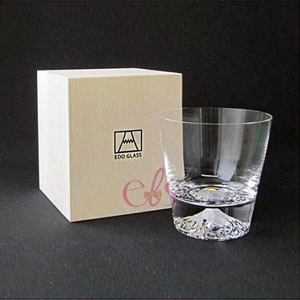日本 江戶硝子 富士山杯 威士忌杯 透明 (附木盒) ☆艾莉莎ELS☆