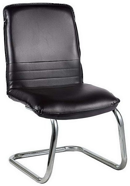 HP433-12 洽談椅(黑皮)(電鍍)